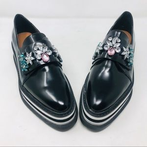 Zara Black Derby Platform Oxford Shoes